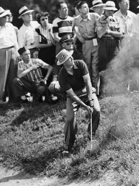 Sam Snead Makes an Iron Shot from the Side of a Sand Trap