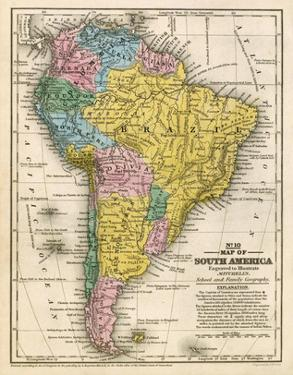 Map of South America, c.1839 by Samuel Augustus Mitchell