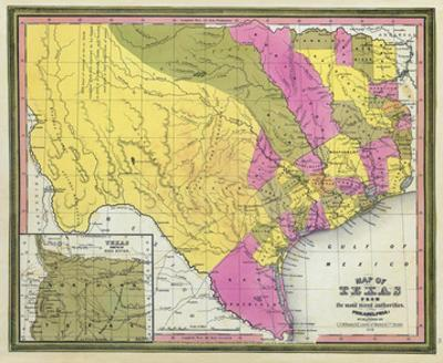 Map of Texas, c.1846 by Samuel Augustus Mitchell