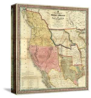 New Map of Texas, Oregon and California, c.1846 by Samuel Augustus Mitchell