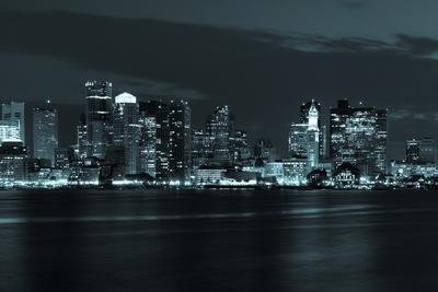 Boston Skyline by Night from East Boston, Massachusetts