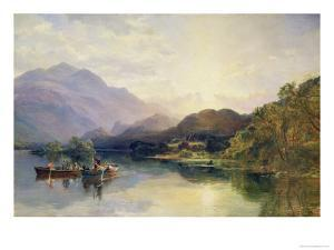 Fishing Party at Loch Achray, with a View of Ben Venue Beyond by Samuel Bough