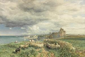 Sea Coast with Castle, Sheep and Shepherd (Watercolour and Scratching Out on Paper) by Samuel Bough
