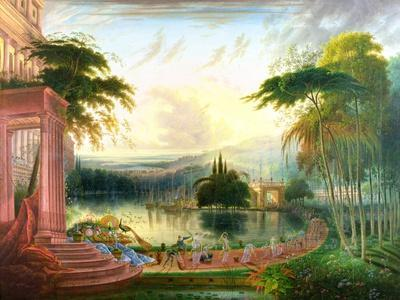 A Romantic Landscape with the Arrival of the Queen of Sheba, C.1830