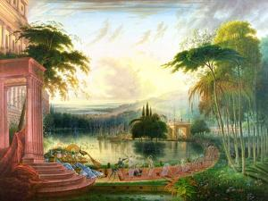 A Romantic Landscape with the Arrival of the Queen of Sheba, C.1830 by Samuel Colman