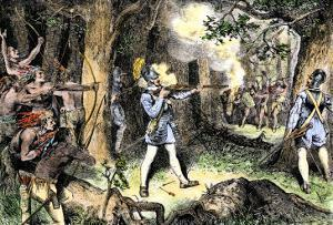 Samuel de Champlain and His Huron Indian Allies Fighting the Iroquois Near Lake Champlain, c.1609
