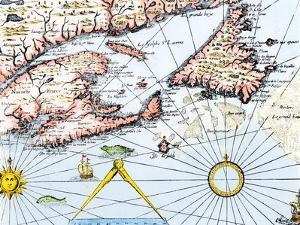 Samuel de Champlain's Map of the Gaspee and Gulf of the Saint Lawrence River, c.1632