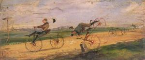 A Race Between Lallement Velocipedes, circa 1865 by Samuel Henry Gordon Alken