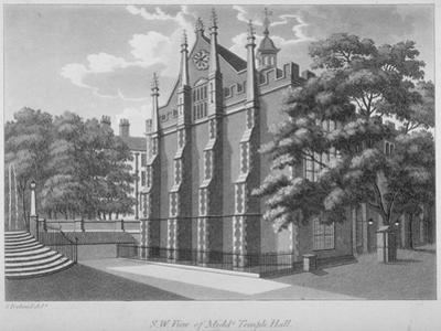 South-West View of Middle Temple Hall, Middle Temple, City of London, 1800 by Samuel Ireland