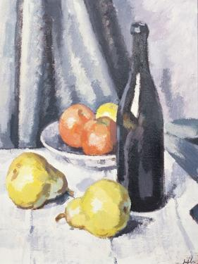Apples, Pears and a Black Bottle on a Draped Table, C.1928 by Samuel John Peploe