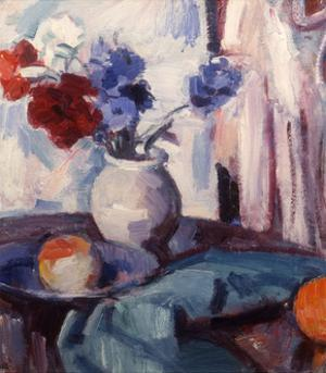 Mixed Carnations and Cornflowers in a Pottery Vase, C.1931 by Samuel John Peploe