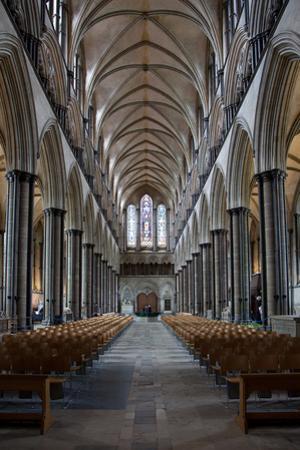 England, Salisbury, Salisbury Cathedral, Interior, Nave, Looking West by Samuel Magal