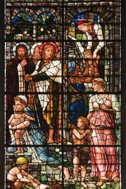 England, Salisbury, Salisbury Cathedral, South Aisle, Stained Glass Window, Jesus by Samuel Magal