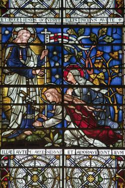England, Salisbury, Salisbury Cathedral, Stained Glass Window, Jesus revealed to Two Women by Samuel Magal