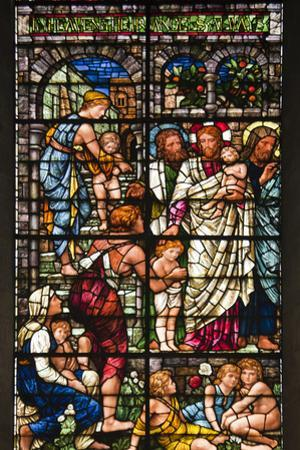 England, Salisbury, Salisbury Cathedral, Stained Glass Window, Jesus with Children by Samuel Magal