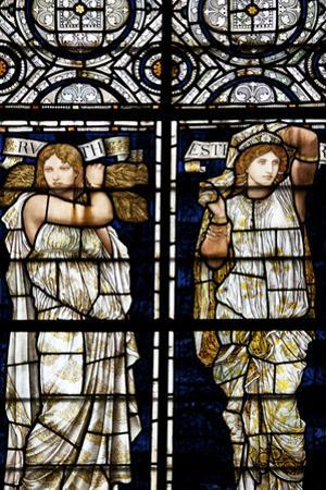 England, Salisbury, Salisbury Cathedral, Stained Glass Window, Ruth and Esther by Samuel Magal