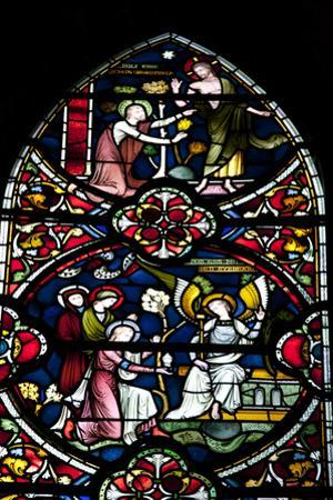 England, Salisbury, Salisbury Cathedral, Stained Glass Window, Scenes from The New Testament by Samuel Magal
