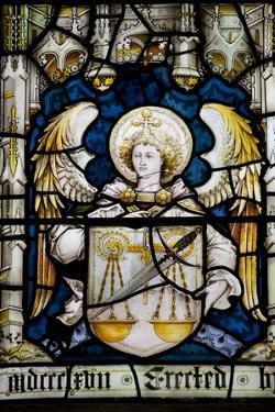 England, Somerset, Bath, Bath Abbey, Stained Glass Window, Angel with a Shield by Samuel Magal