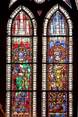 France, Alsace, Strasbourg, Strasbourg Cathedral, Stained Glass Window, Charles Martel and Charlema by Samuel Magal