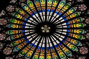 France, Alsace, Strasbourg, Strasbourg Cathedral, Stained Glass Window, Rose Window by Samuel Magal