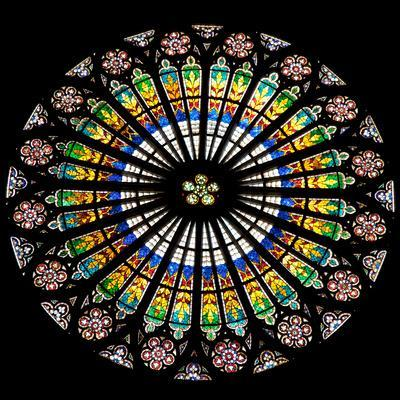 France, Alsace, Strasbourg, Strasbourg Cathedral, Stained Glass Window, Rose Window