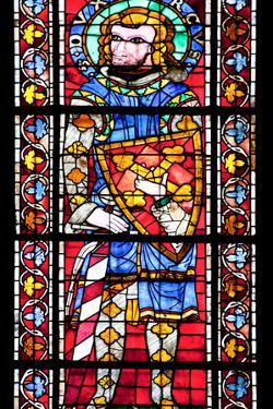 France, Alsace, Strasbourg, Strasbourg Cathedral, Stained Glass Window, Saint Marcus (Dux) by Samuel Magal