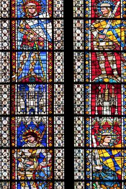 France, Alsace, Strasbourg, Strasbourg Cathedral, Stained Glass Window, Theban Legion Warriors. by Samuel Magal