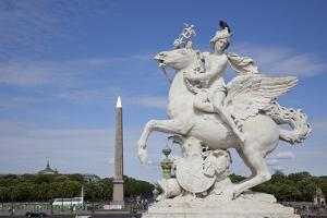 France, Paris, Tuileries Garden, Statue of Hermes (Mercury) with Pegasus by Samuel Magal