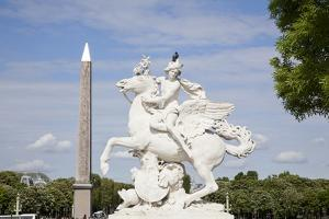 France, Paris, Tuileries Garden, Statue of Hermes (Mercury) with Pegasus by Samuel Magal
