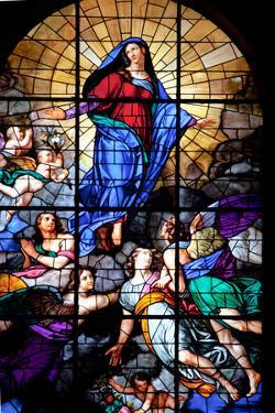 Italy, Milan, Milan Cathedral, Window 45, Assumbtio of the Virgin by Samuel Magal
