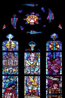 Italy, Milan, Milan Cathedral, Window 7 honoring Cardinals Carlo Ferrari and Alfredo Schuster by Samuel Magal