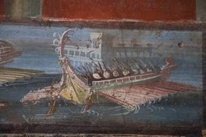 Italy, Naples Museum, from Pompeii, Isis Temple, Naumachia, Representation of a Naval Battle by Samuel Magal
