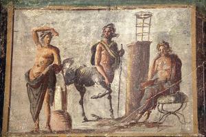 Italy, Naples, Naples Museum, Casa d'Adonide or della Regina Carolina, Pompeii, Chiron and Apollo by Samuel Magal