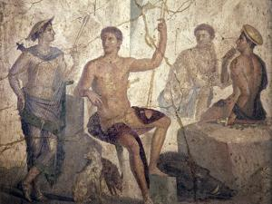 Italy, Naples, Naples Museum, from Pompeii, Home of the Centaur (VI 9, 3-5), Meleager and Atalanta by Samuel Magal