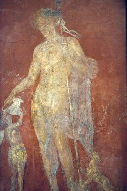 Italy, Naples, Naples Museum, from Pompeii, House of Diodcuri (VI 9, 6-7), Dionysus and Satyr by Samuel Magal