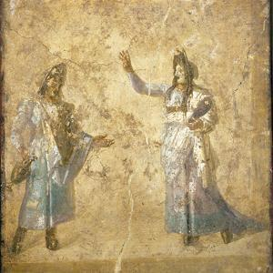 Italy, Naples, Naples Museum, from Pompeii, House of Diodcuri (VI 9, 6-7), Scene of Tragedy by Samuel Magal