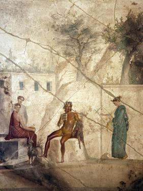 Italy, Naples, Naples Museum, from Pompeii, House of Fatal Love  (IX, 5,8), Pan and the nymphs by Samuel Magal