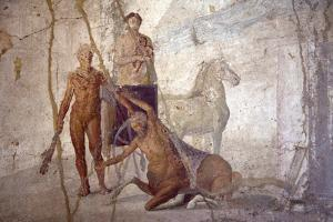 Italy, Naples, Naples Museum, from Pompeii, House of Jason (IX 5, 18), Heracles and Centaur by Samuel Magal