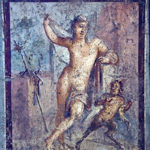 Italy, Naples, Naples Museum, from Pompeii, House of Meleager (VI 9, 2.13), Emafrodito and Panisco by Samuel Magal