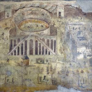 Italy, Naples, Naples Museum, from Pompeii, (peristyle) (I, 3,23), Amphitheater Showing Battle by Samuel Magal