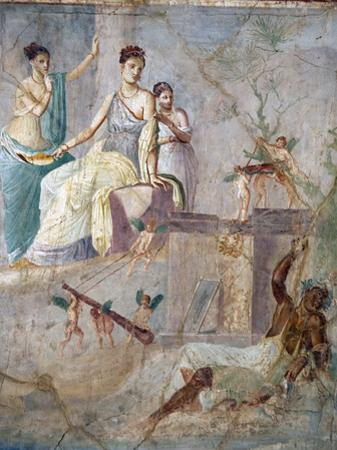 Italy, Naples, Naples Museum, from Pompeii, Prince of Montenegro House VII, Hercules and Omphale by Samuel Magal