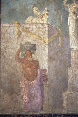 Italy, Naples, Naples Museum, from Pompeii, (VII 6,28), Cubicle 8, Idyllic Landscape- Sacral by Samuel Magal