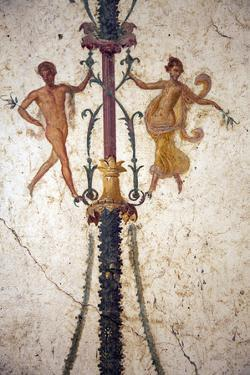 Italy, Naples, Naples Museum, from the Villa of Arianna in Stabiae, Naked Flying Figures by Samuel Magal