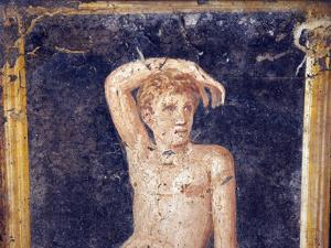Italy, Naples, Naples Museum, from the Villa of Arianna in Stabiae, Naked Young Man on a Stool by Samuel Magal