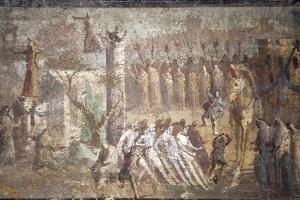 Italy, Naples, Naples Museum, from Villa Ariadne, Stabia, Pompeii, (Region IX 7, 16), Trojan Horse by Samuel Magal