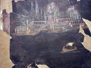 Italy, Naples, Naples National Archeological Museum, from Pompeii, Landscape with Boats by Samuel Magal