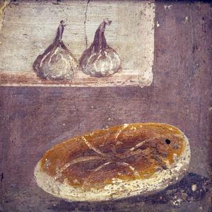 Italy, Naples, Naples National Archeological Museum, Herculaneum, Still Life with Bread and Figs by Samuel Magal