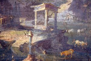 Italy, Naples, Naples National Archeological Museum, Landscape with Animals to Pasture by Samuel Magal