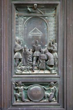 Italy, Siena, Siena Cathedral, Bronze Door Relief by Samuel Magal