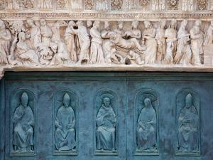 Italy, Siena, Siena Cathedral, Decorated Bronze Door and Sculptured Lintel by Samuel Magal